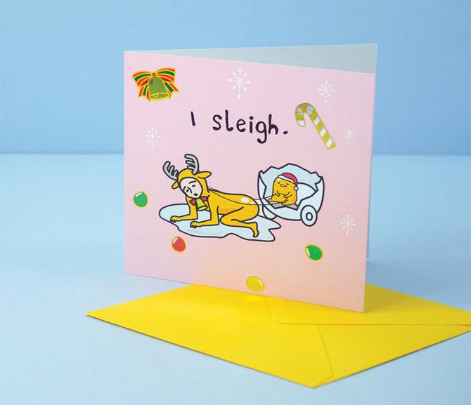Jolly Awesome x Gudetama Greeting Card: Sleigh