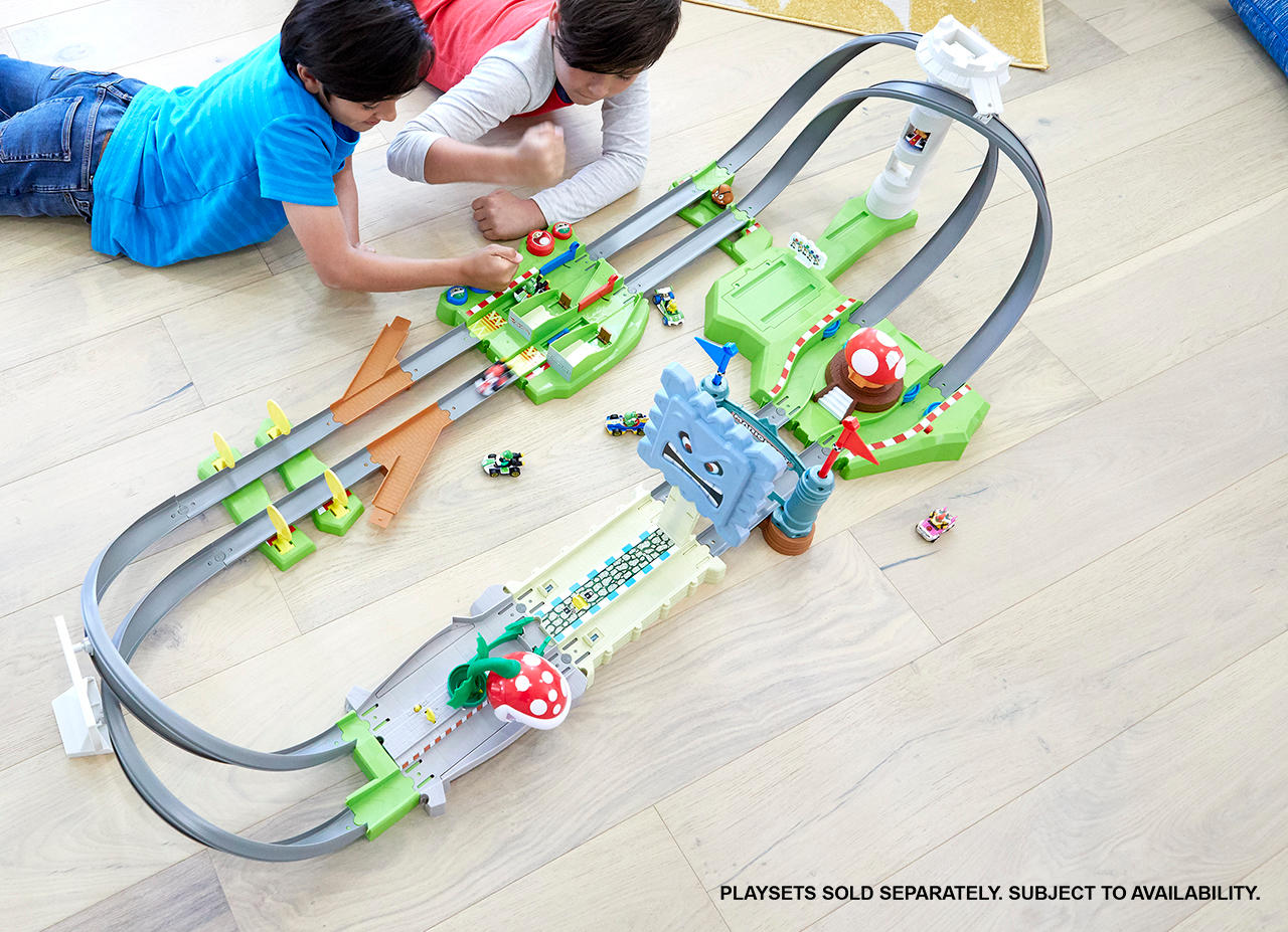 All three Hot Wheels Mario Kart track sets linked together