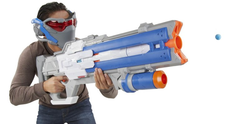 Nerf Rival Overwatch Soldier 76 blaster and targeting visor