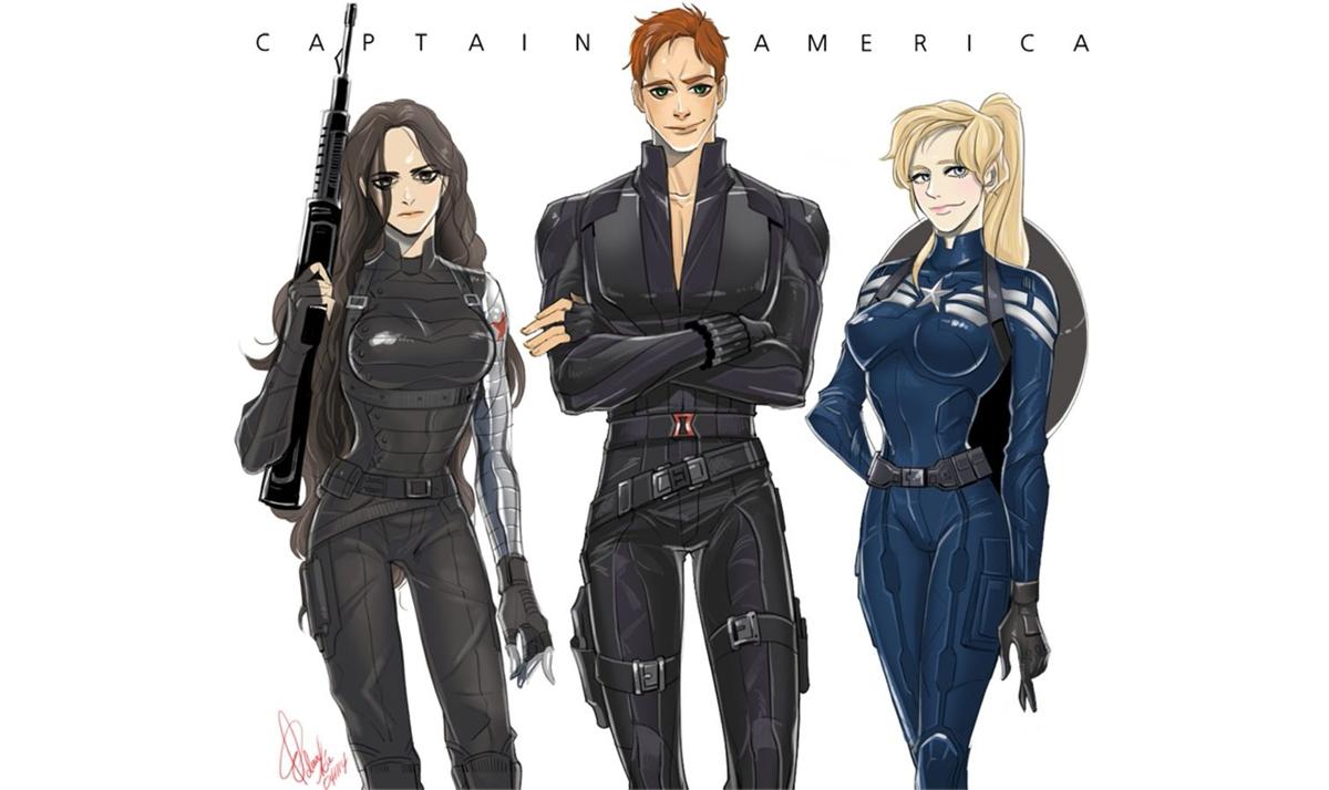 Gender-bent Winter Soldier, Black Widow, and Captain America