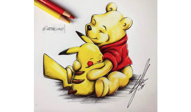 winnie n pikachu by artacuna EDIT - If Disney and Nintendo characters collided