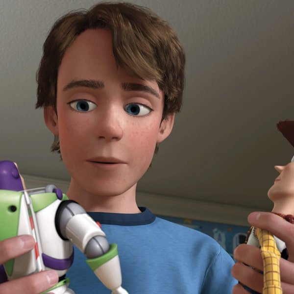 What's the name of the kid who owns Woody, Buzz, and Bo Peep? 16
