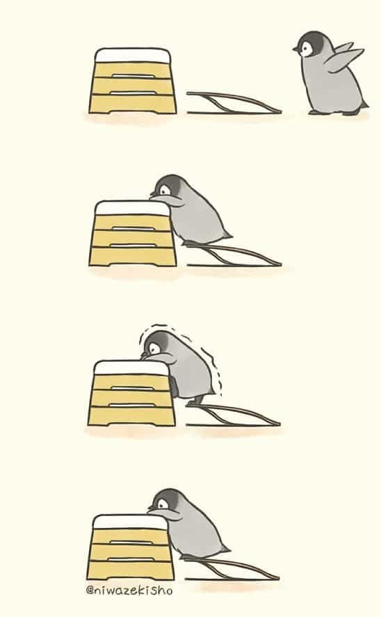 These comics about a baby penguin trying to get its life together are totally relatable 12