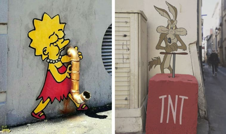 These pop culture characters blend in perfectly with walls and sidewalks 10