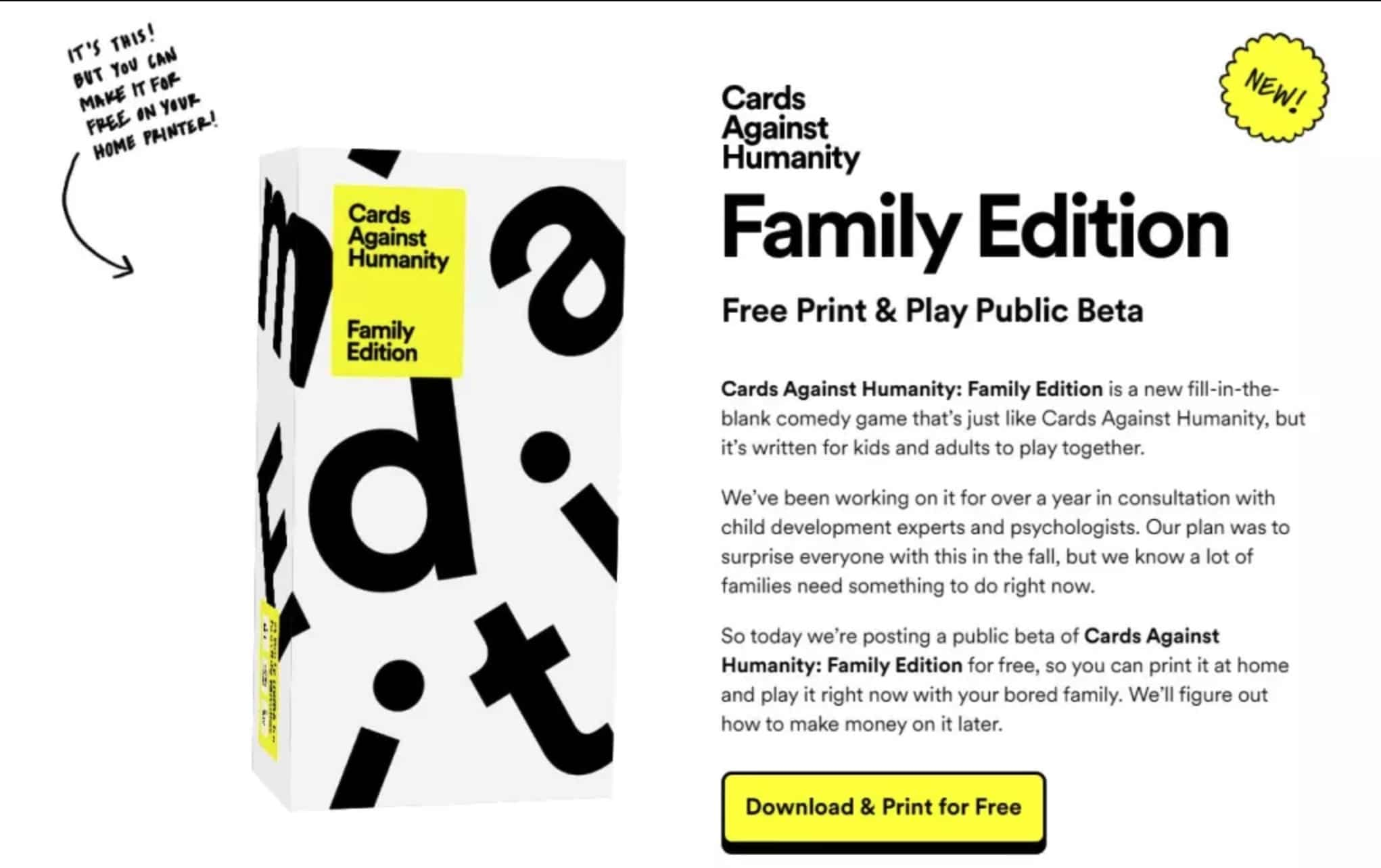 Cards Against Humanity Releases A Free And Printable Family Edition Geekspin