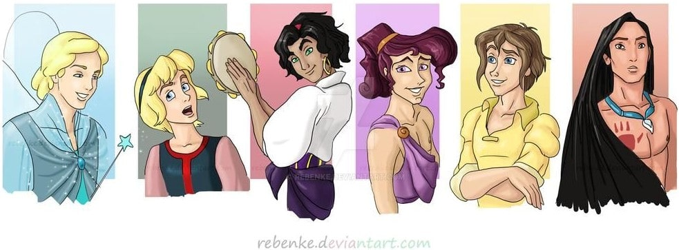 Disney characters reimagined as the opposite gender 54