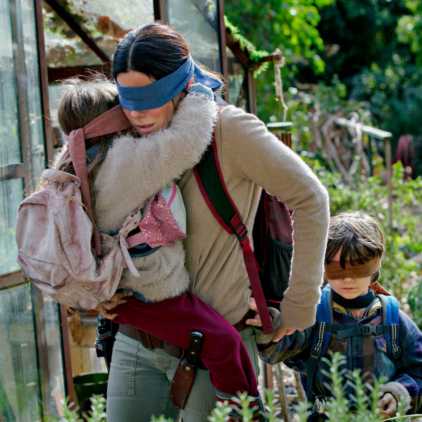 At the end of Bird Box, Sandra Bullock's character finally names her two children. What did she name them? 35