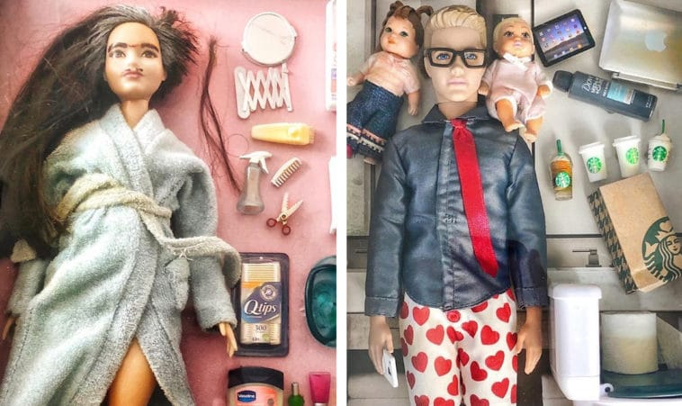 Artist shows how Barbie dolls have adjusted to life in quarantine 12