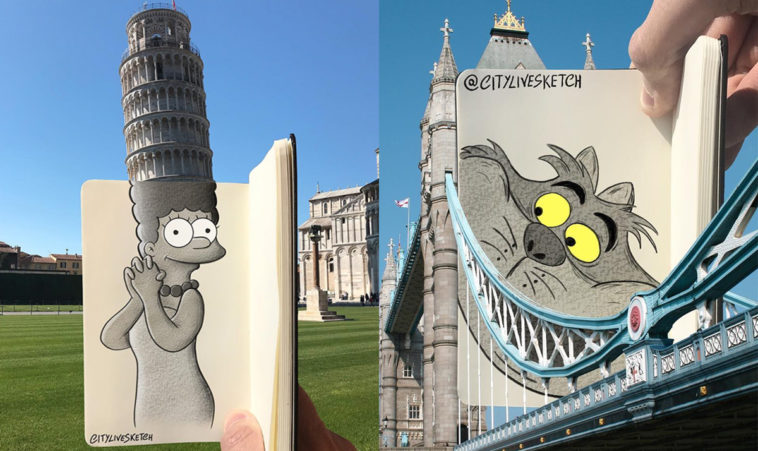 Artist merges photos of real-life structures with playful sketches 16
