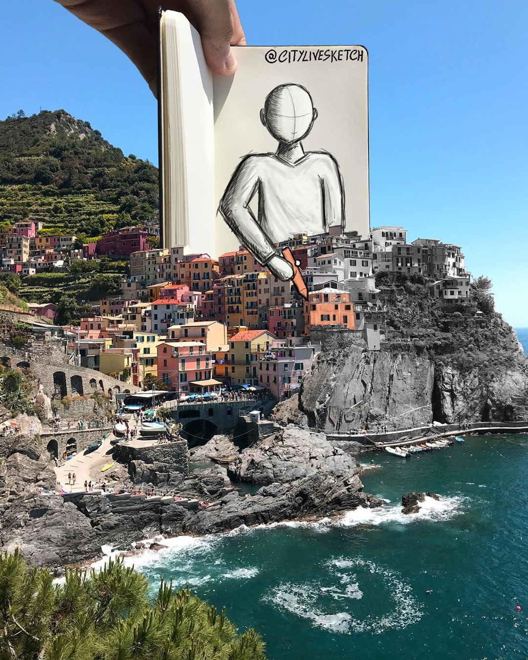 Artist merges photos of real-life structures with playful sketches 13