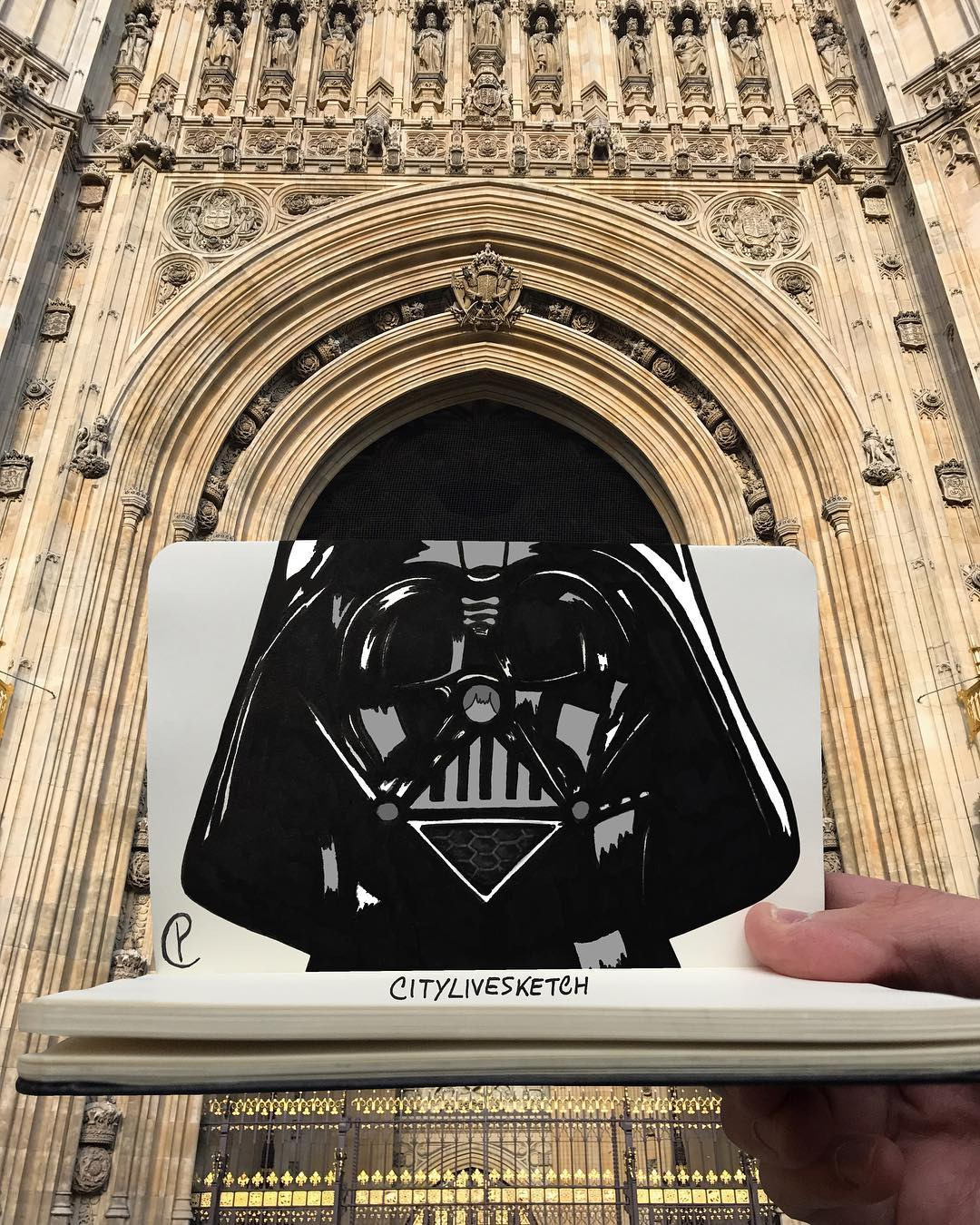 Artist merges photos of real-life structures with playful sketches 17