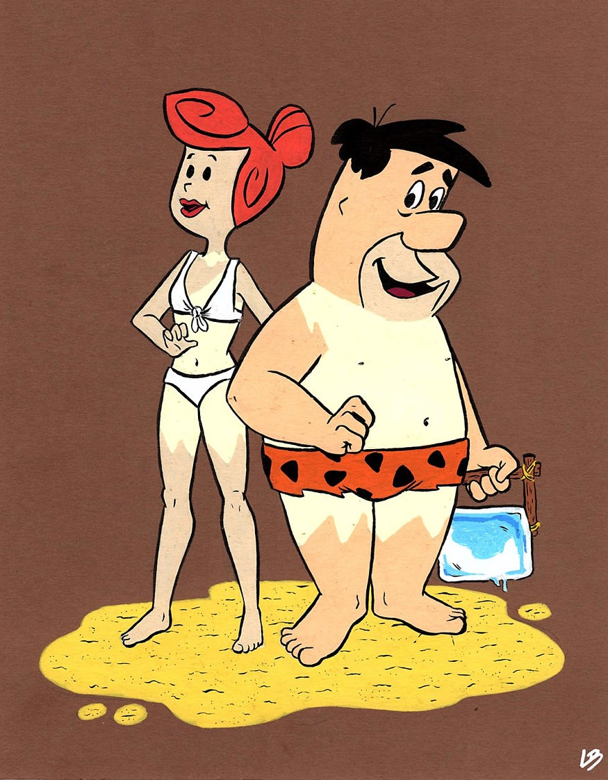 What cartoon characters would look like on their first day at the beach 16