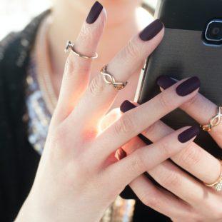 Matte Aubergine Nails 68