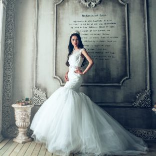 A white mermaid gown. It's elegant and timeless. 90