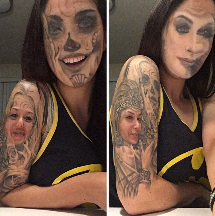 The tattoo face swap trend is taking the Internet by storm and it's as creepy as it sounds 16
