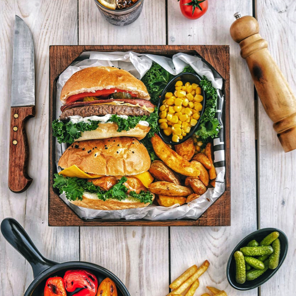 Burgers and Fries with All the Sides 17