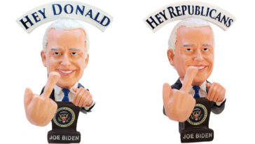 Joe Biden Bobblehead doll waves a middle finger at Trump 21
