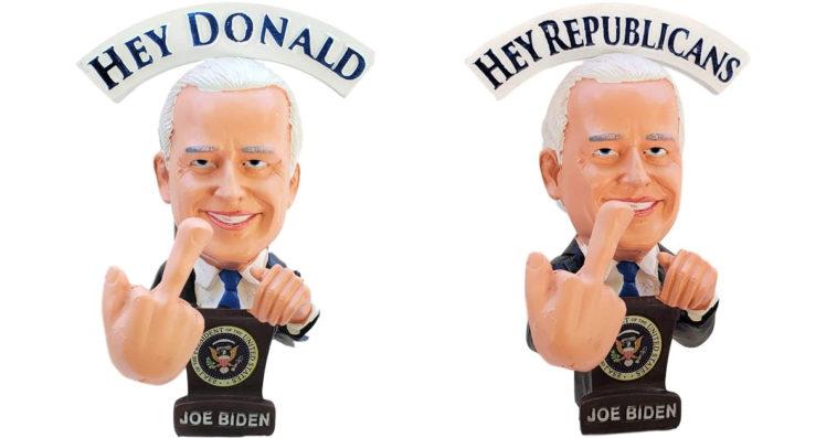 Joe Biden Bobblehead doll waves a middle finger at Trump 16