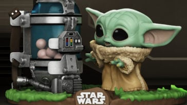 This Baby Yoda Funko Pop! figure includes The Child's disturbing new snack 24