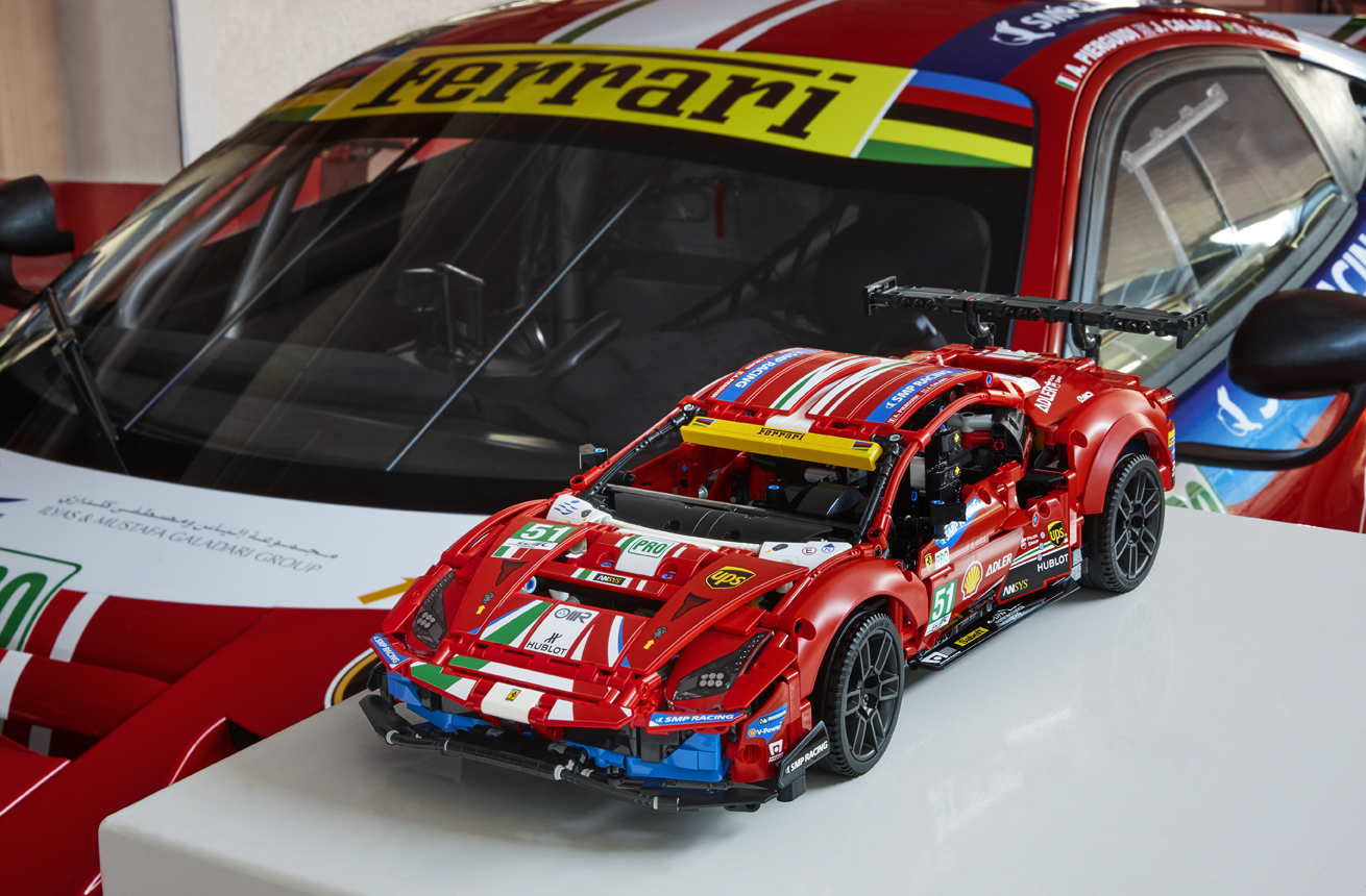The Ferrari 488 GTE LEGO replica captures the ferocious look of the original 20