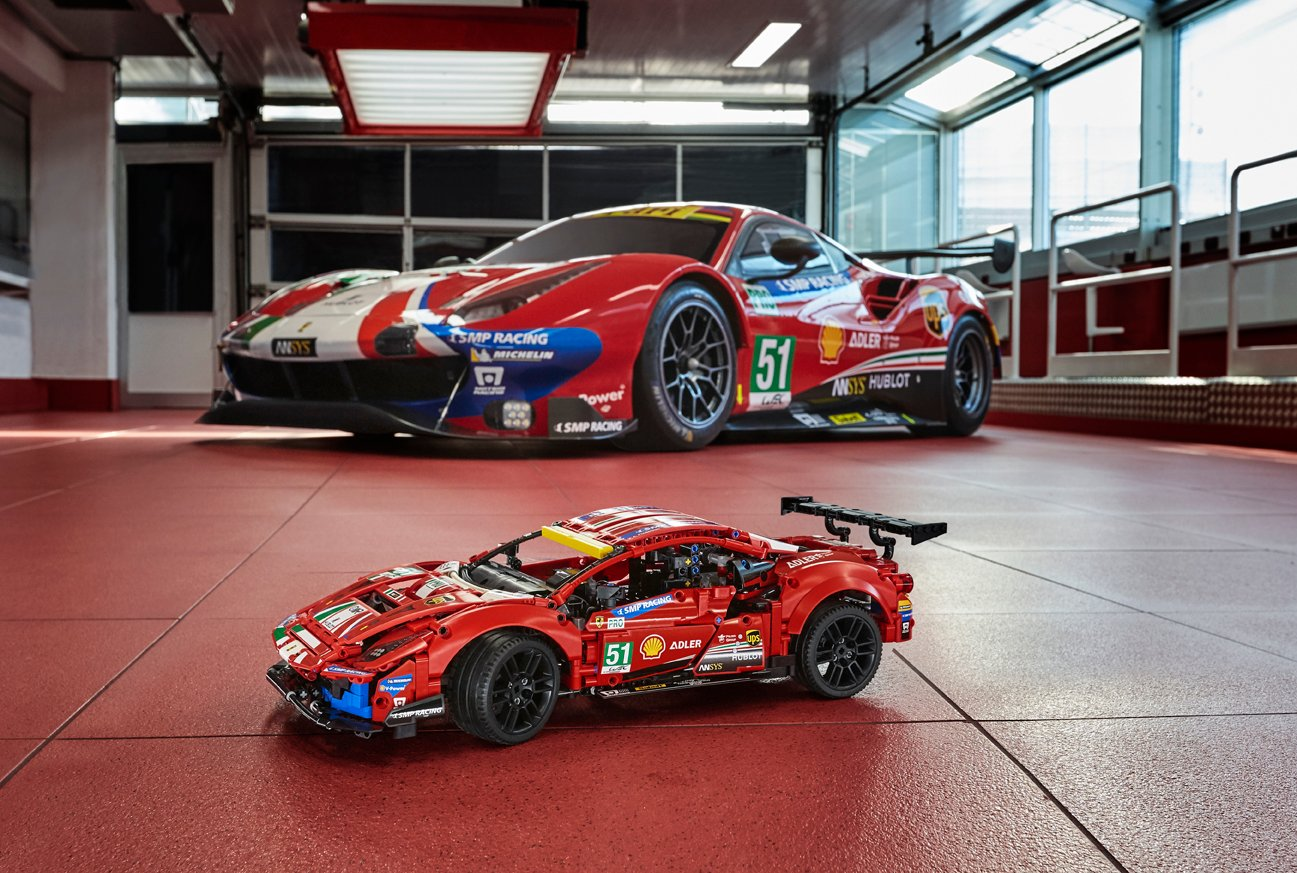 The Ferrari 488 GTE LEGO replica captures the ferocious look of the original 23