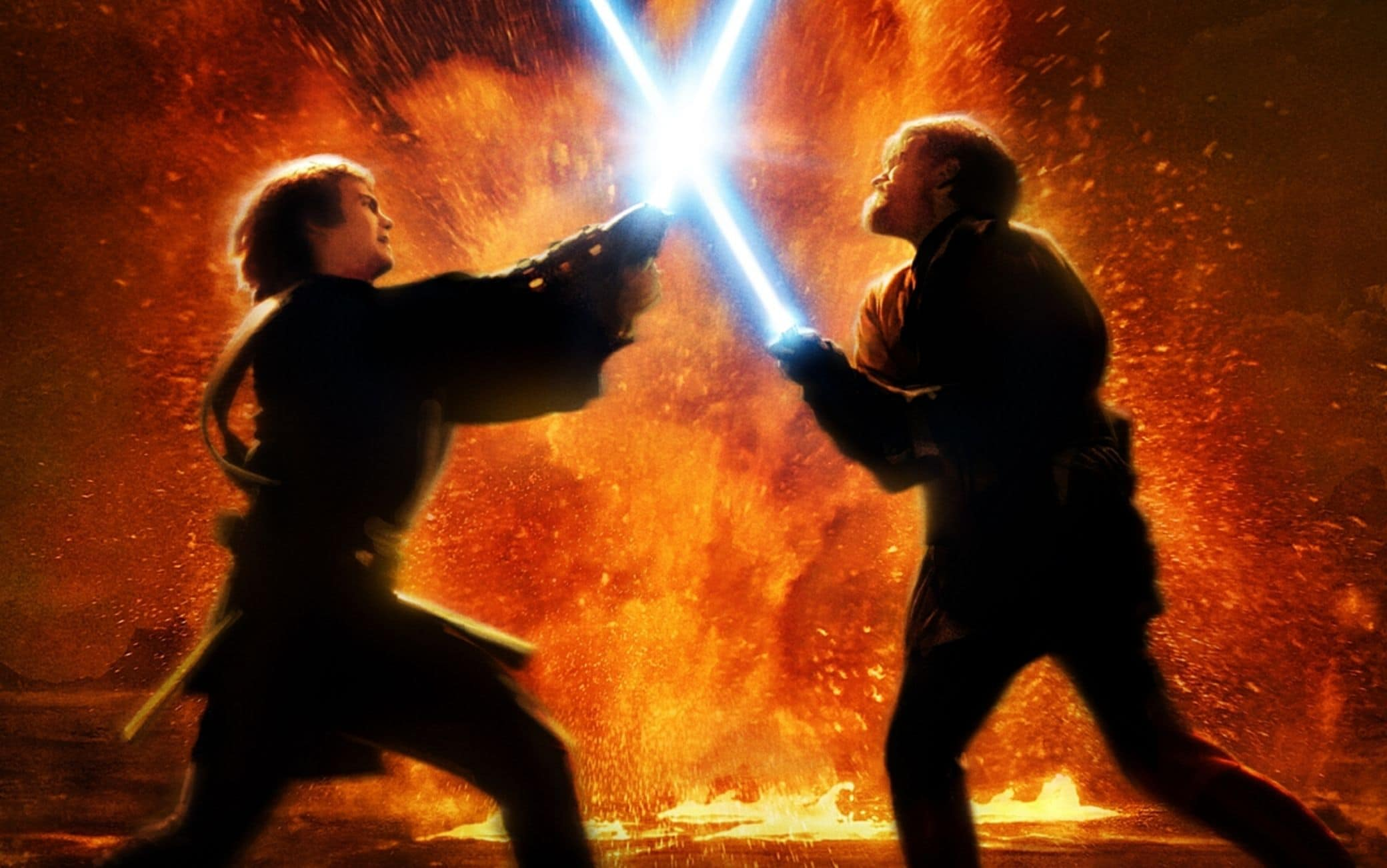 The duel between Anakin Skywalker and Obi-Wan Kenobi on Mustafar in Star Wars: Revenge of the Sith