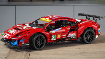 The Ferrari 488 GTE LEGO replica captures the ferocious look of the original 15
