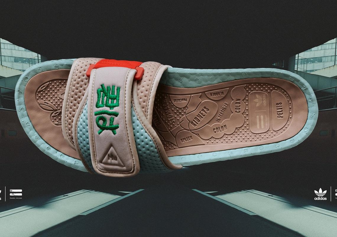 Pharrell Williams x Nigo x Adidas PW Boost Slides (green tint, clay brown, bold orange)