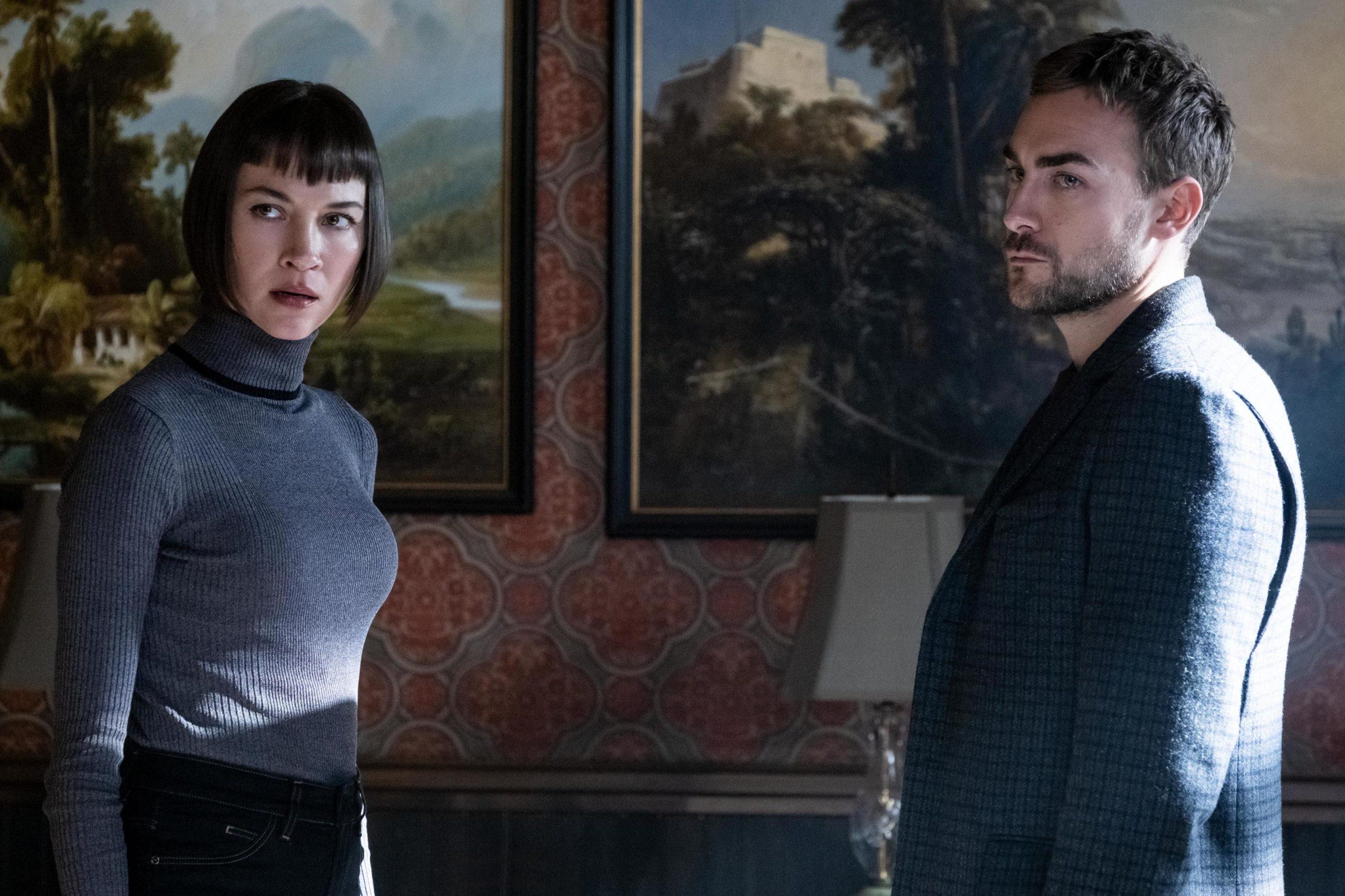Sydney Lemmon as Ana Helstrom and Tom Austen as Daimon Helstrom in Hulu's Helstrom