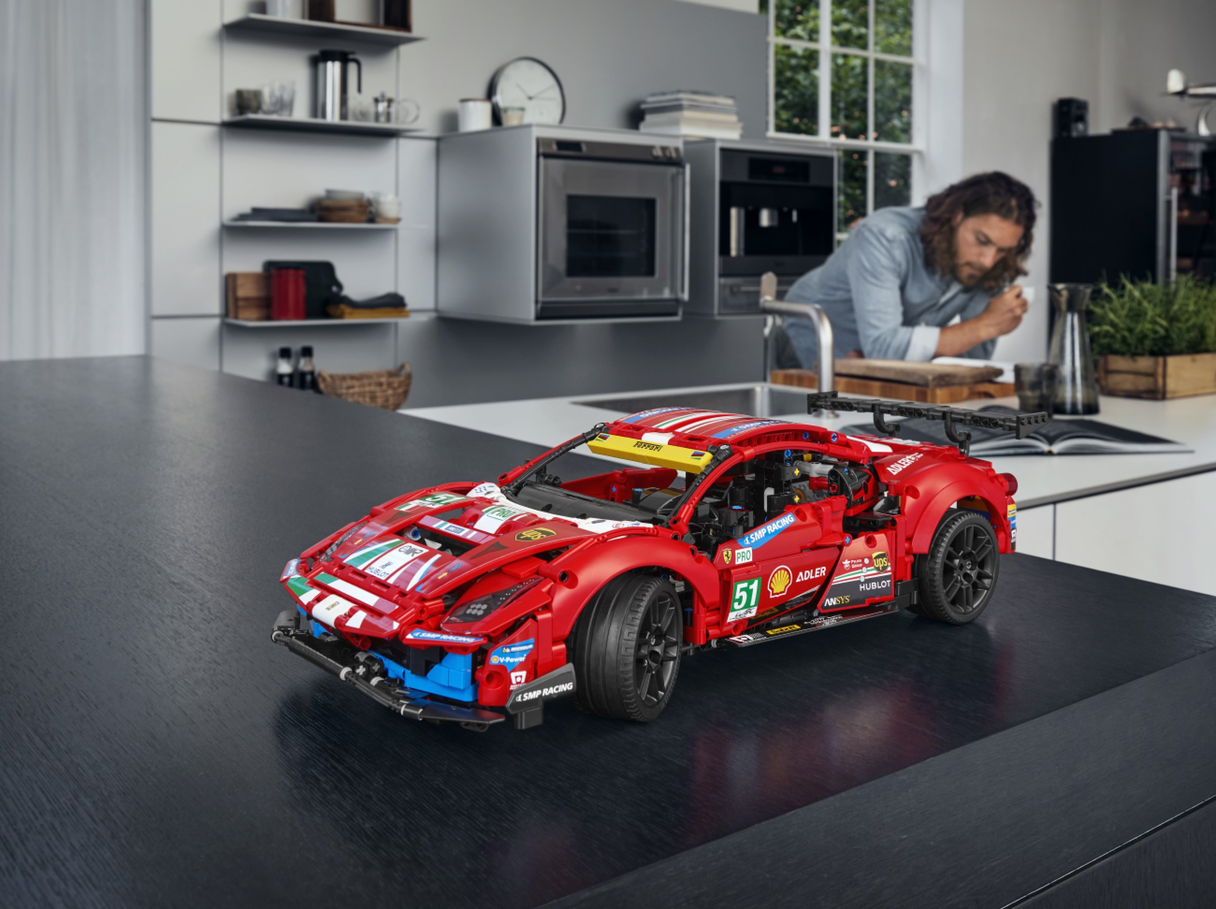 The Ferrari 488 GTE LEGO replica captures the ferocious look of the original 21