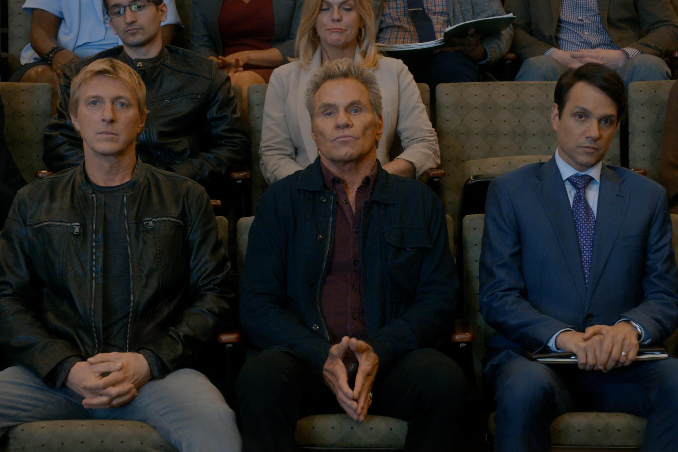 William Zabka as Johnny Lawrence, Martin Kove as John Kreese, and Ralph Macchio as Daniel LaRusso in Cobra Kai season 3