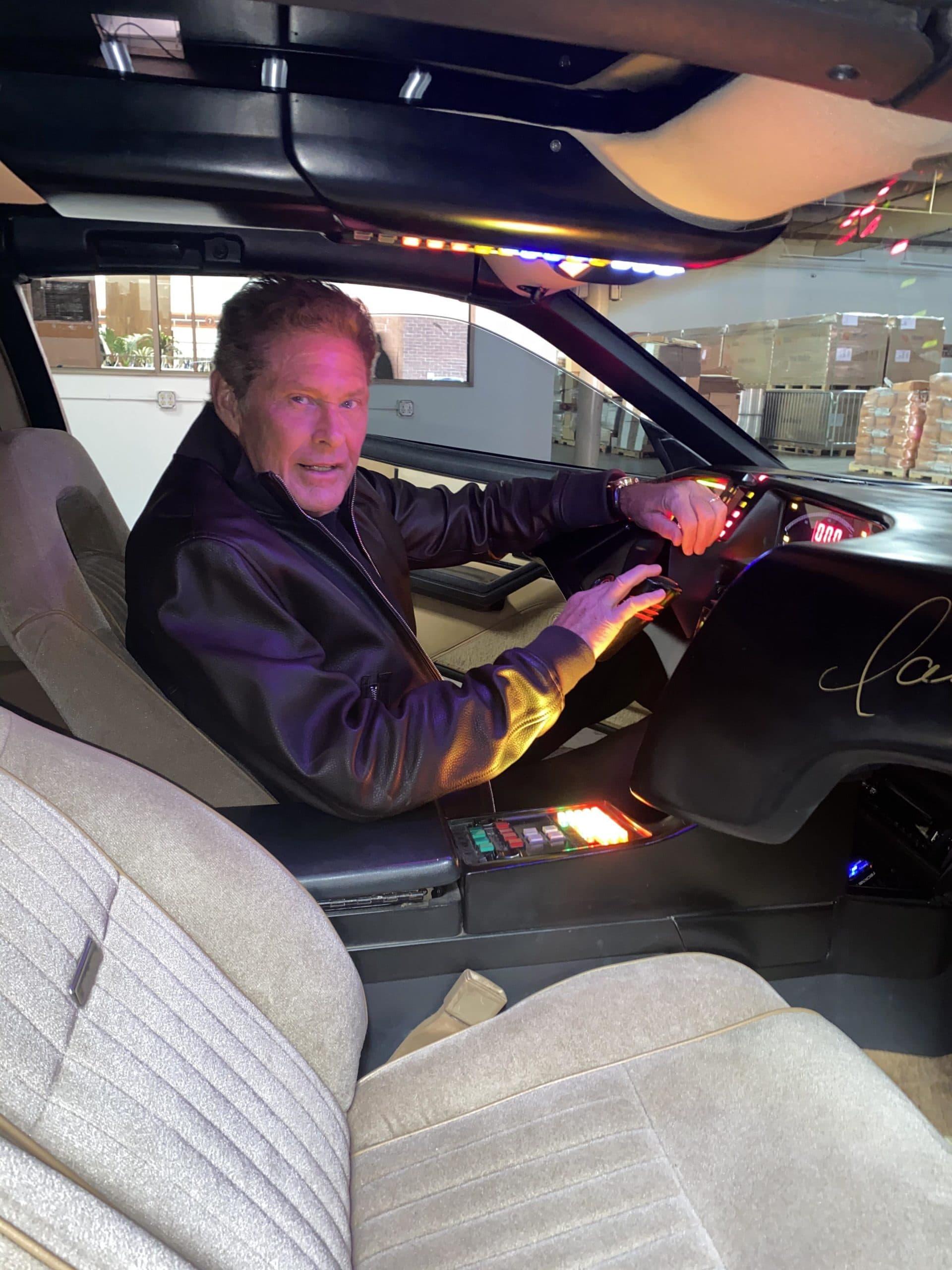 David Hasselhoff inside his personal KITT car from the original Knight Rider TV series