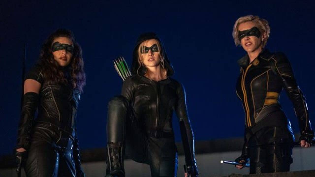 Katherine McNamara as Mia Green, Katie Cassidy as Laurel Lance, and Juliana Harkavy as Dinah Drake in the backdoor pilot for Green Arrow and the Canaries