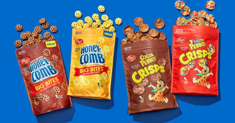 Pebbles Crisps and Honeycomb Big Bites cereal snacks