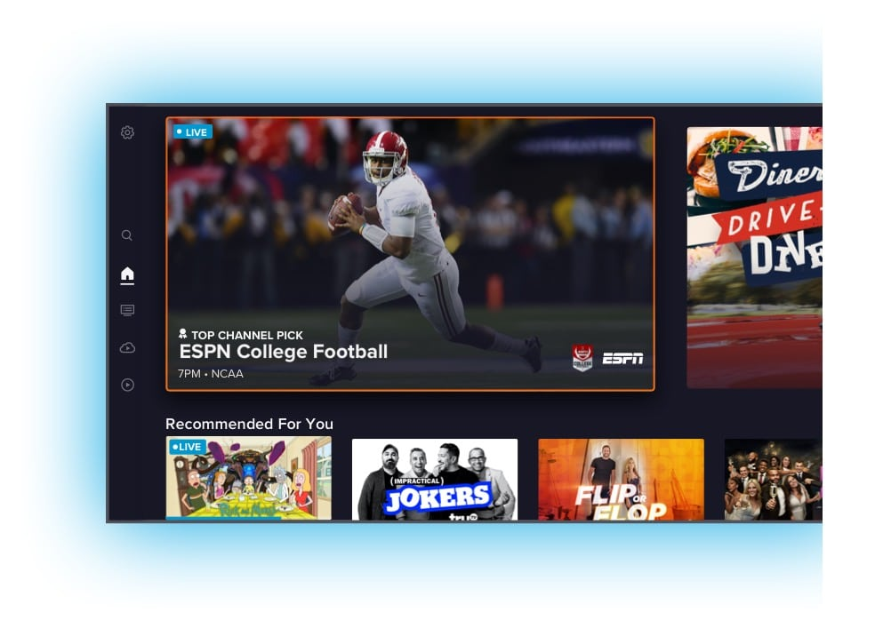 Sling TV app home view