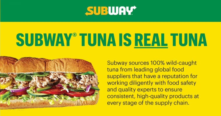 Subway reiterates that its tuna is real in a new website 16