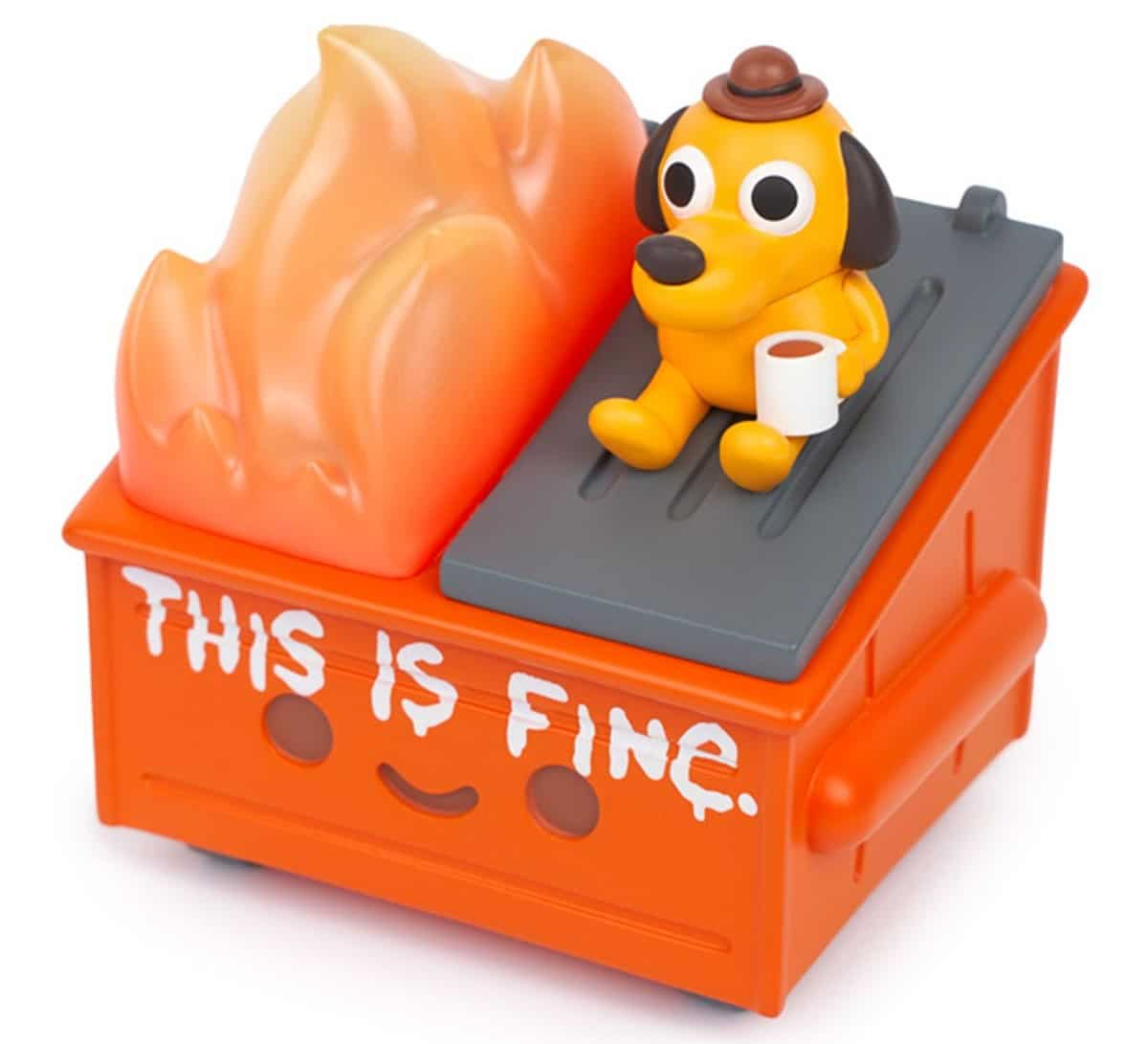 Dumpster Fire meets This is Fine dog in this adorable vinyl figure 17