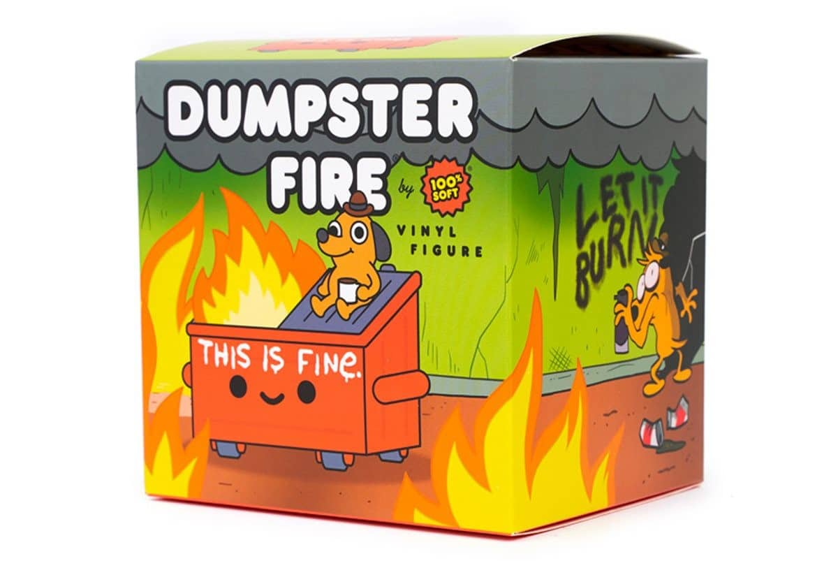 Dumpster Fire meets This is Fine dog in this adorable vinyl figure 20