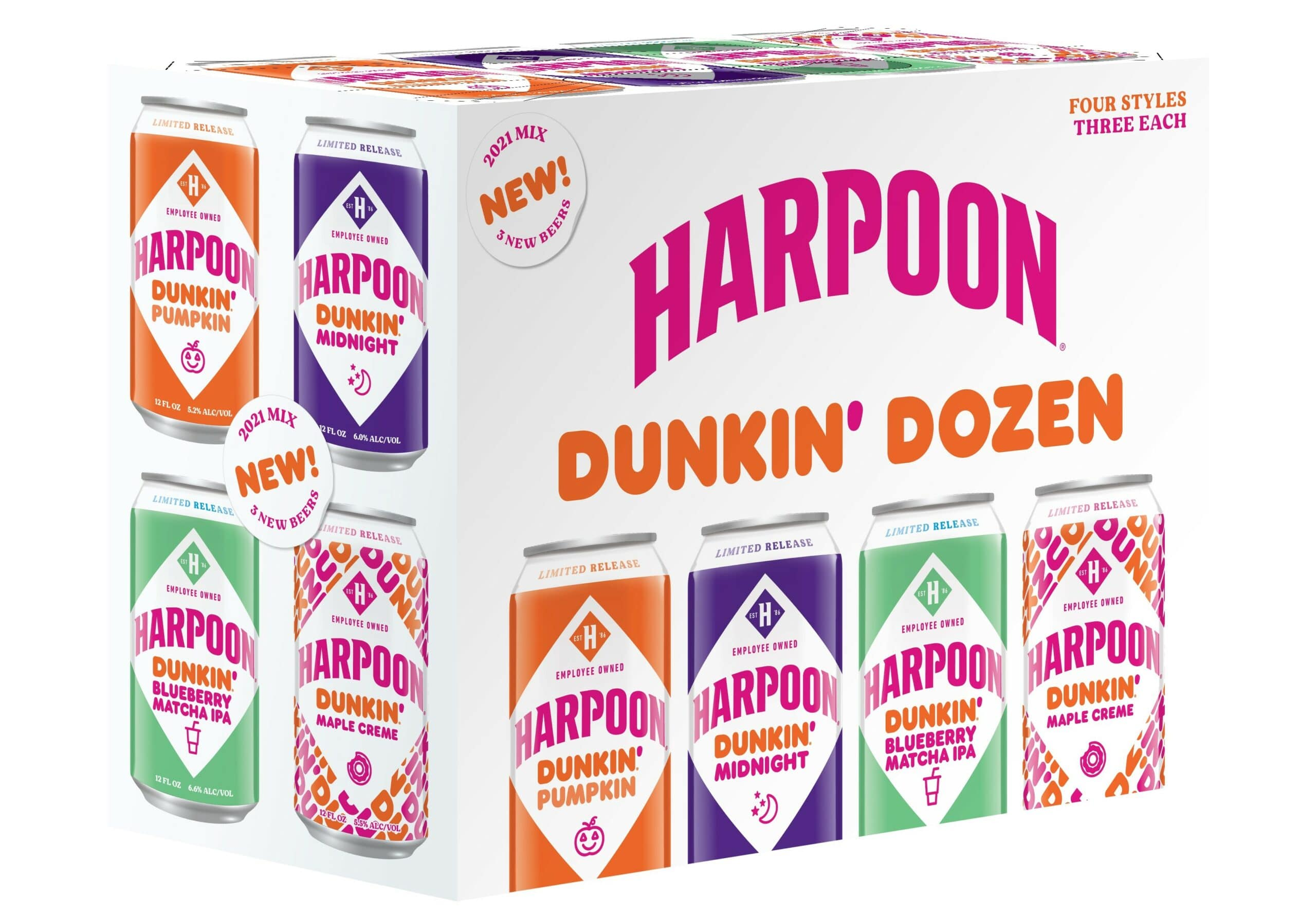 Harpoon Brewery is releasing 3 new Dunkin' Donuts-inspired beers for fall 21