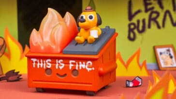 Dumpster Fire meets This is Fine dog in this adorable vinyl figure 15