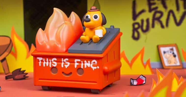 Dumpster Fire meets This is Fine dog in this adorable vinyl figure 16